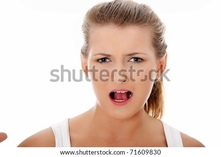Shocked woman portrait, over white background