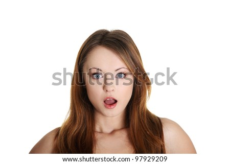 Shocked woman portrait, over white background - stock photo
