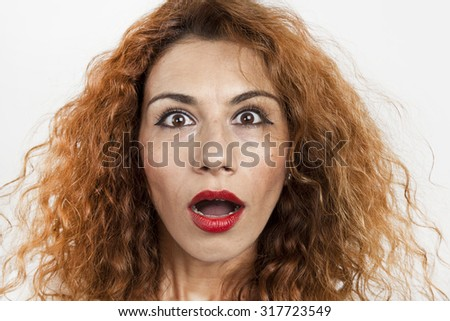 Shocked woman with white background