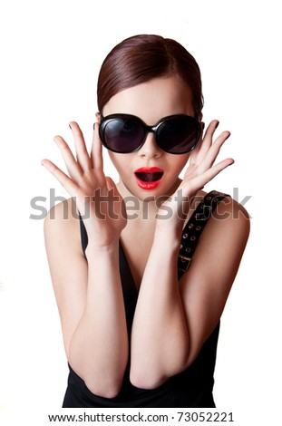 Shocked young beauty - stock photo