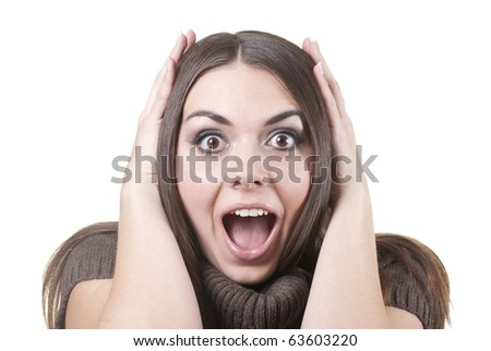 Shocked young brunette isolated on white - stock photo