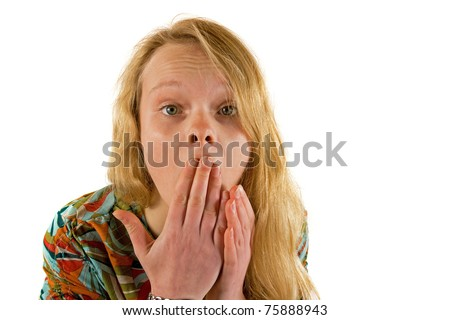 Shocked young lady - stock photo
