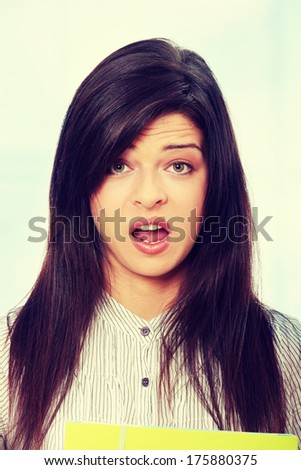 Shocked young woman .  - stock photo
