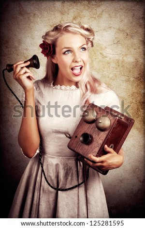Shocked Young Woman Holding Old Wooden Box Phone While Working As A Telephone Operator In A Good News Or Bad News Concept - stock photo