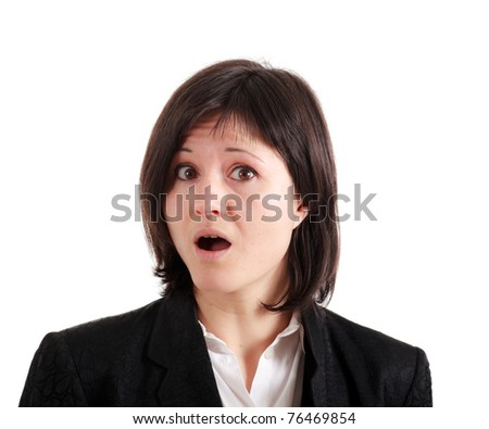Shocked young woman isolated on white - stock photo