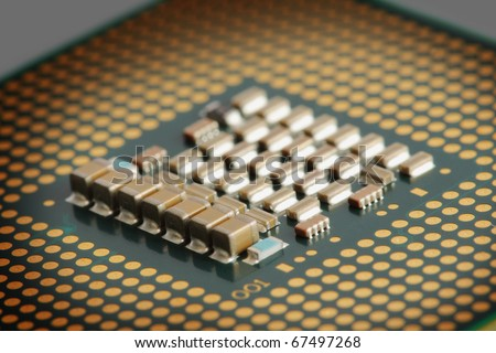 Shocket775 processor for a computer with selective light - stock photo