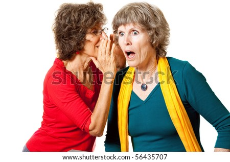 Shocking senior gossip - stock photo