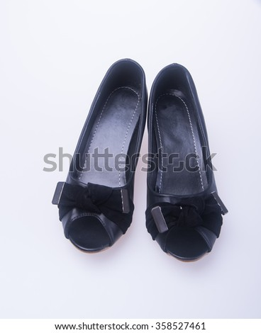 shoe. black colour fashion woman shoes on a background