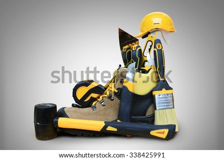 Shoe construction with tools and construction helmet