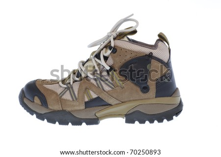 Shoe for trekking and hiking isolated on white background - stock photo