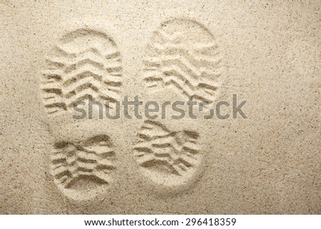 Shoe imprint in the sand