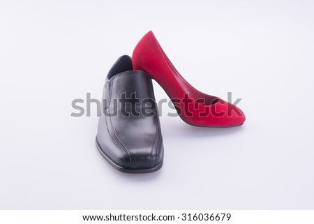 shoe or men and women shoes on a background - stock photo