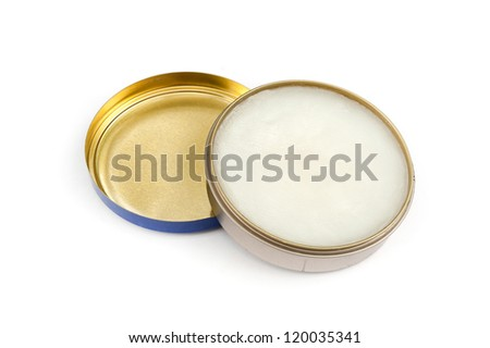 shoe polish isolated on a white, Polish in Open Flat Round Container White Background - stock photo