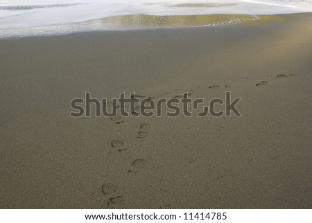 Shoe prints on a beach going towards the water - stock photo