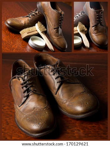 Shoe repair tools footwear.Male fashion with shoes