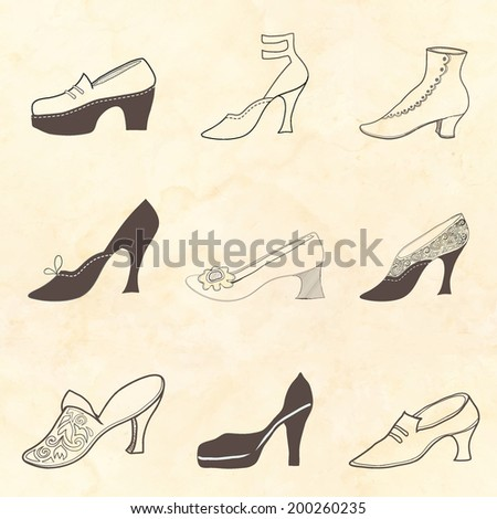 Shoe set on a spotted background - stock photo