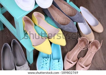 Shoe shelf with women shoes - stock photo