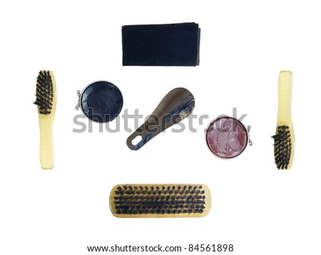 Shoe shine set for black and brown shoes isolated over white background - stock photo