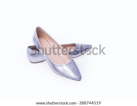 shoe. Silver colour fashion woman shoes on a background - stock photo