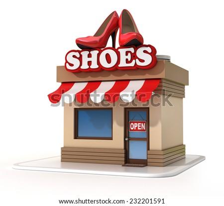 shoe store 3d illustration - stock photo