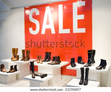 Shoe Store Window In Sale Season. Shopping Series. - stock photo