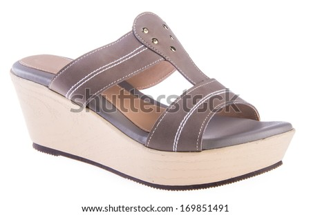 shoe. woman sandal on background