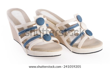 shoe. woman sandal on background - stock photo