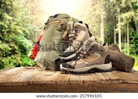 shoes and backpack  - stock photo