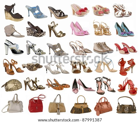 shoes and bag collection - stock photo