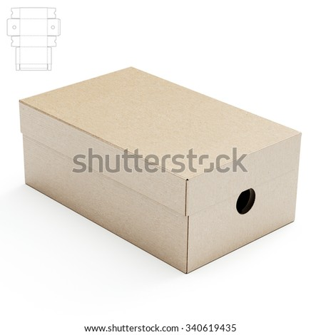 Shoes Box with Die Cut Template