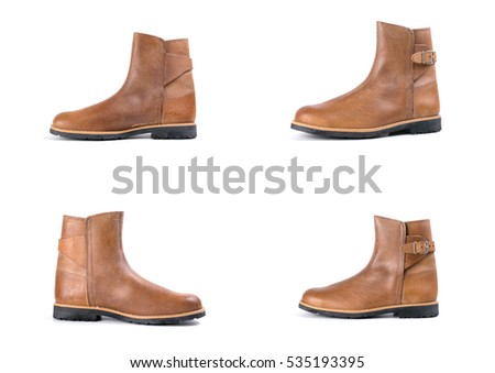 shoes brown leather on white background