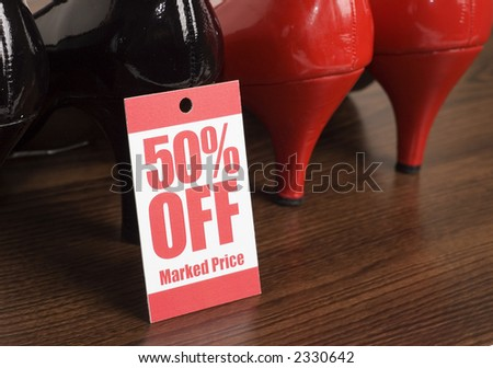 shoes in a shop on sale