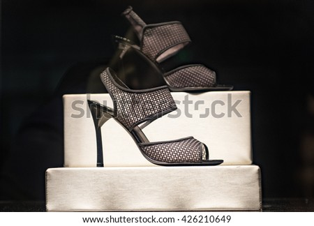 Shoes in a window display - stock photo