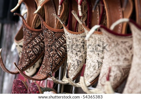 Shoes in arabian style, market of Dubai - stock photo
