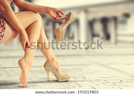 shoes of gold  - stock photo