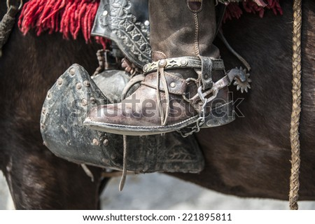 Shoes of guacho, charro, cowboy in Latin America - stock photo