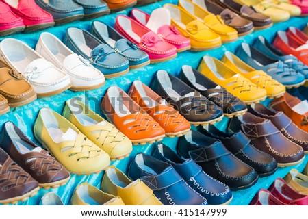 shoes on shelves  - stock photo