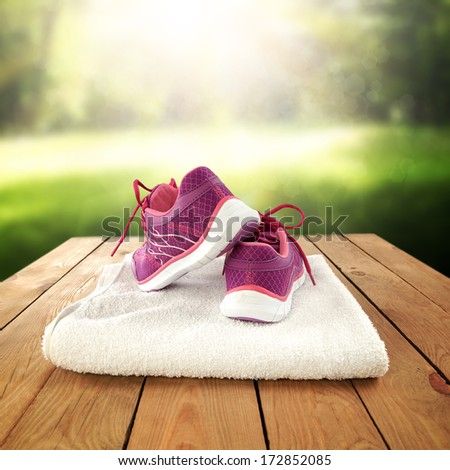 shoes on towel  - stock photo