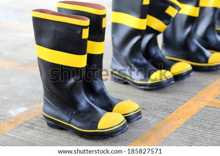 shoes safety for firefighter - stock photo