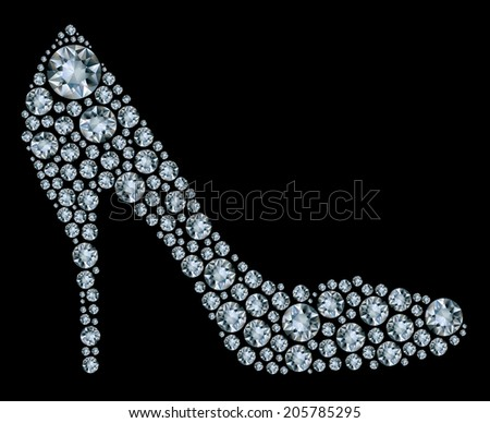 Shoes shape made up a lot of diamond on the black background  - stock photo