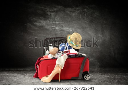 shoes suitcase and chalkboard