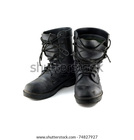 Shoes through the use of military in war - stock photo