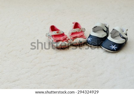 Shoes Two Pairs Baby First Girl - stock photo