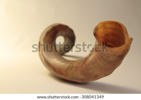 shofar (horn) isolated on white. rosh hashanah (jewish holiday) concept . traditional holiday symbol. - stock photo