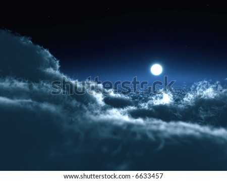 Shone circle of the moon in darkness on a background of the star sky and clouds - stock photo