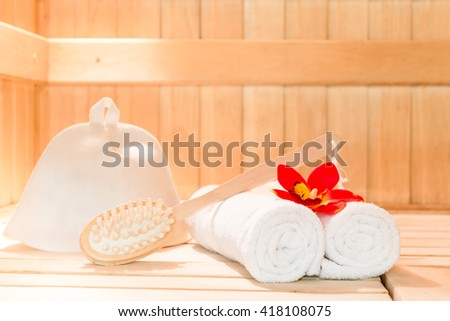 shoot of a object for a bath in the sauna closeup - stock photo