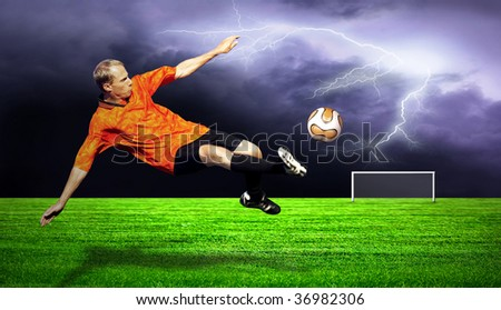 Shoot of football player on the field