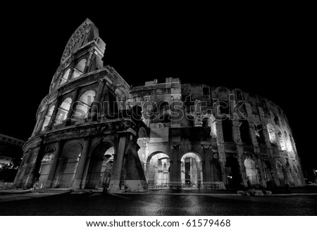 Shoot of the coliseum at night in Rome - Italy. - stock photo