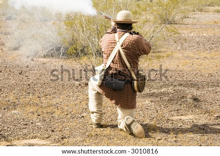 shooting action during a civil war reenactment at Picacho Peak State Park, Arizona, - stock photo