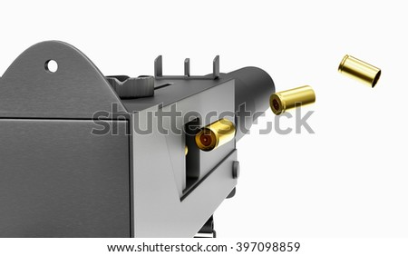 Shooting Automatic 9mm Machine Gun isolated on white background. Military Weapons Concept. 3D Rendering - stock photo